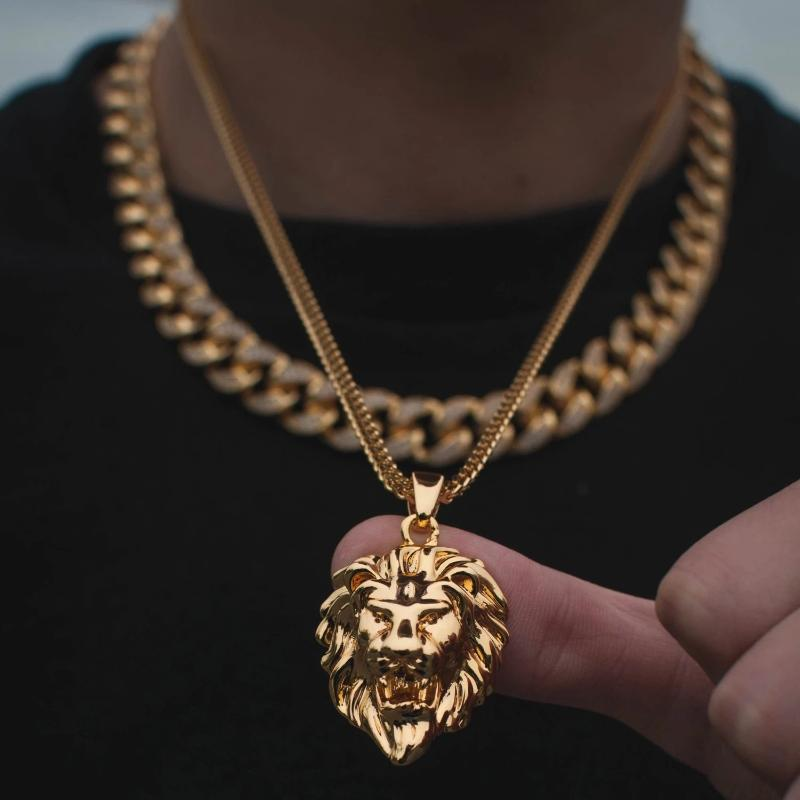 Lion Head Necklace in Yellow Gold - The Jewelry Plug