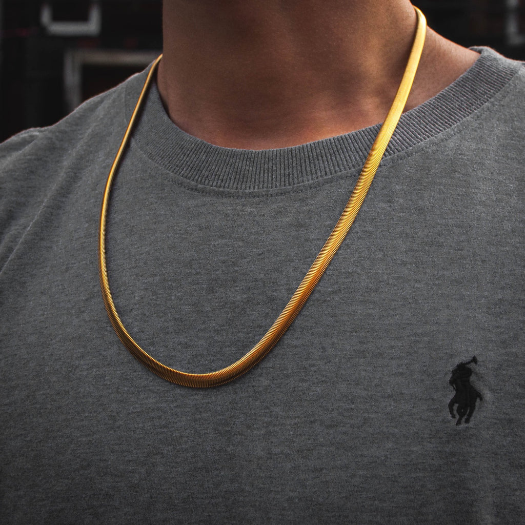 Classic Herringbone Chain in Yellow Gold - The Jewelry Plug