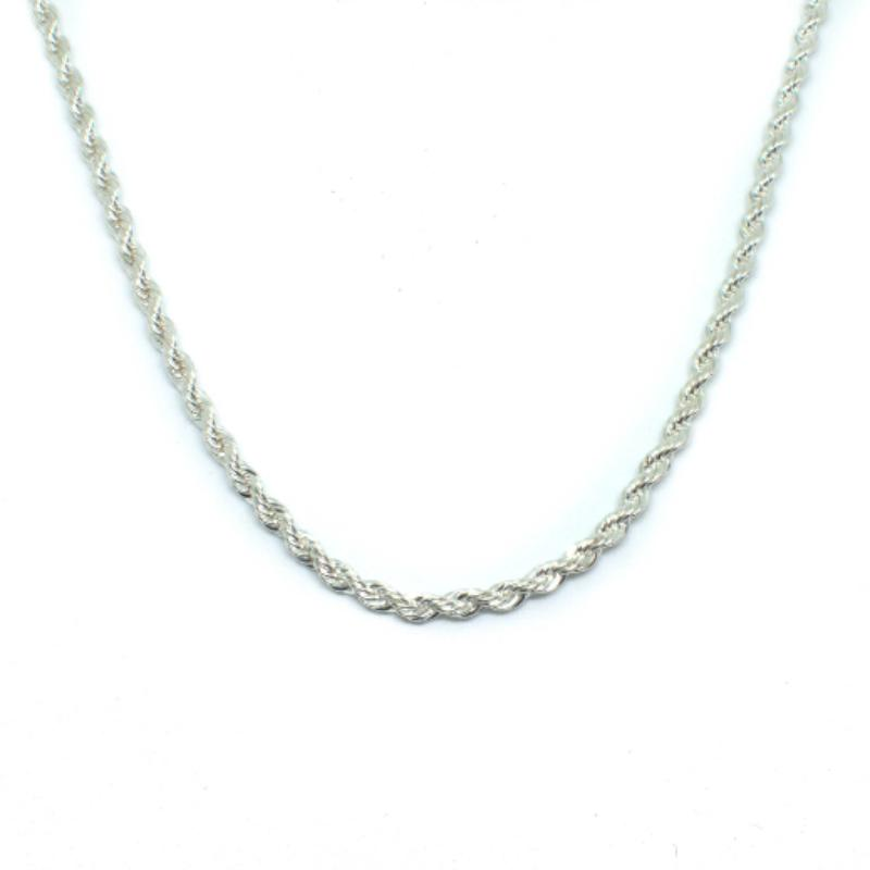 925 Sterling Silver Textured Rope Chain - The Jewelry Plug