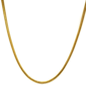18k Yellow Gold Rounded Thick Snake Chain - The Jewelry Plug