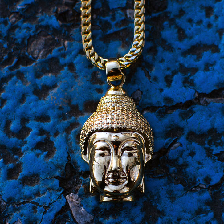 18k Gold Yoga Energy Buddha Head Pendant Necklace - The Jewelry Plug