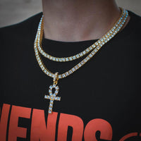 18k Yellow Gold Tennis Chain Bundle Ankh - The Jewelry Plug