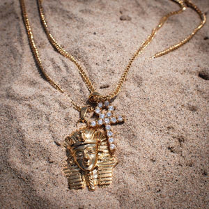 18k Gold Egyptian Pharaoh & Ankh Pendant Necklaces - The Jewelry Plug