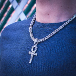 18k Gold Diamond Tennis Chain w/ Ankh - The Jewelry Plug18k White Gold Diamond Tennis Chain w/ Ankh - The Jewelry Plug