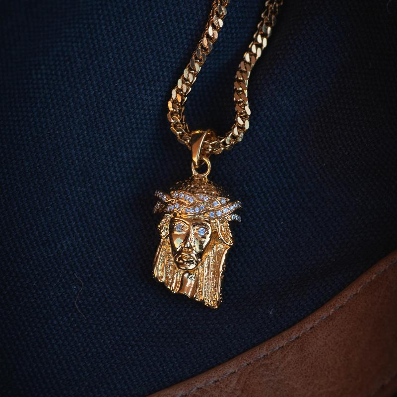 18k Gold Jesus Piece Pendant Necklace - The Jewelry Plug