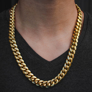 14k Yellow Gold Thick & Heavy Miami Cuban Link Choker (14mm) - The Jewelry Plug