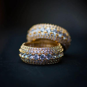 Gold 5 Row Diamond Layered Ring - The Jewelry Plug