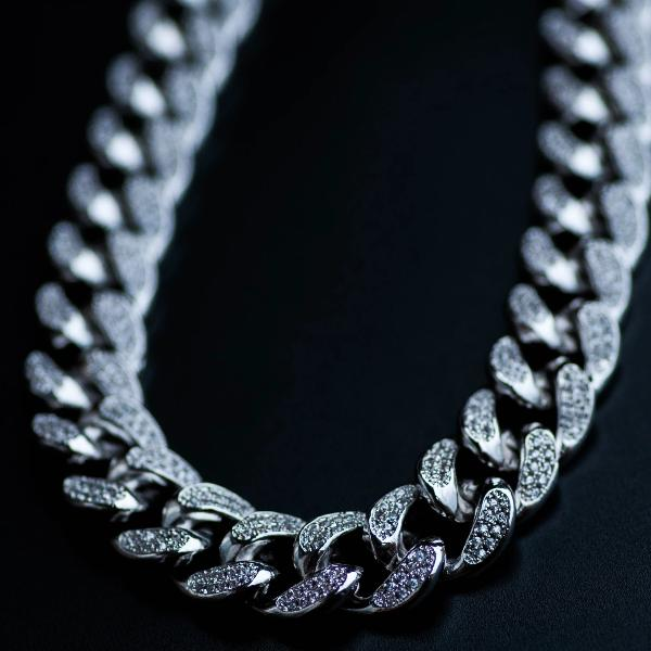 14k White Gold Diamond Cuban Link Chain (12mm) - The Jewelry Plug