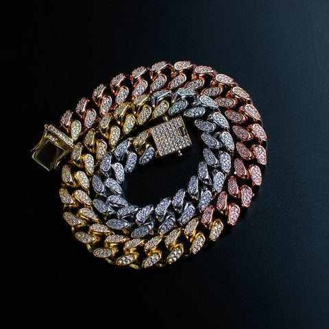 Tri-Colored Diamond Cuban Link Choker Chain - The Jewelry Plug