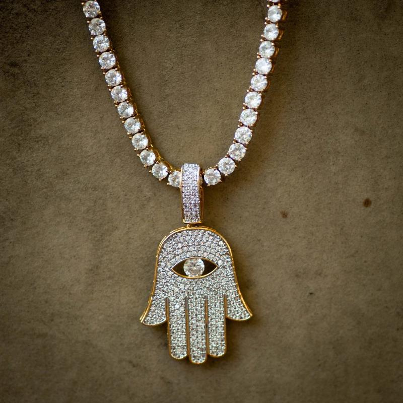 Evil Eye Hamsa Hand Necklace w/ Tennis Chain - The Jewelry Plug