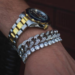 Diamond Cuban Link Bracelet + Tennis Bracelet Bundle - The Jewelry Plug