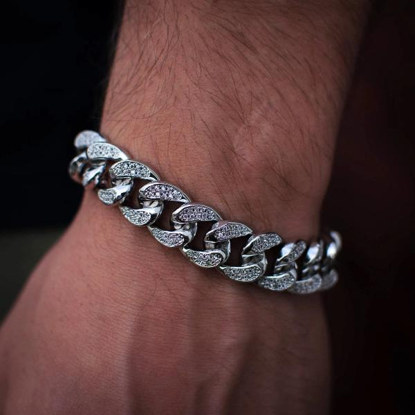 14k White Gold Diamond Cuban Link Bracelet - The Jewelry Plug