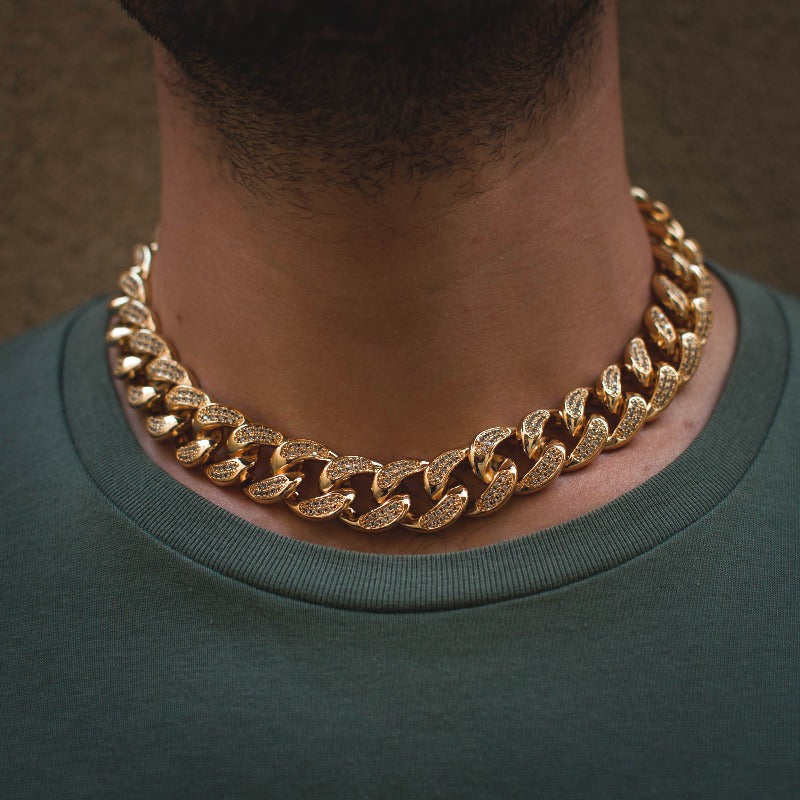 14k Diamond Cuban Link Choker in Yellow Gold - The Jewelry Plug
