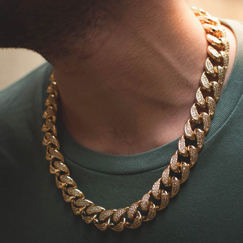 14k Diamond Cuban Link Chain in Yellow Gold - The Jewelry Plug