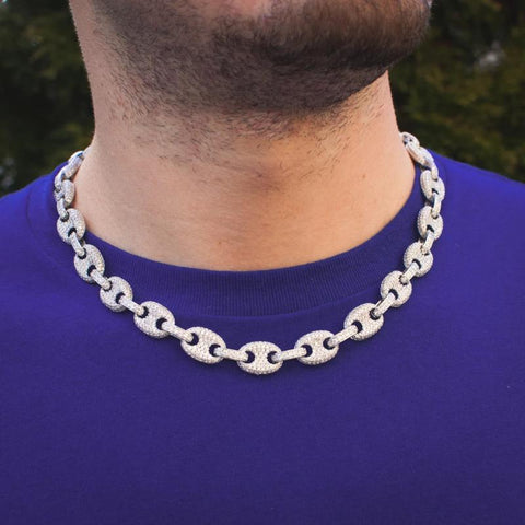 Iced Out Gucci Mariner Link Necklace in 14k White Gold - The Jewelry Plug