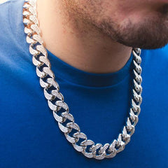 14k White Gold Diamond Cuban Link Chain Choker - The Jewelry Plug