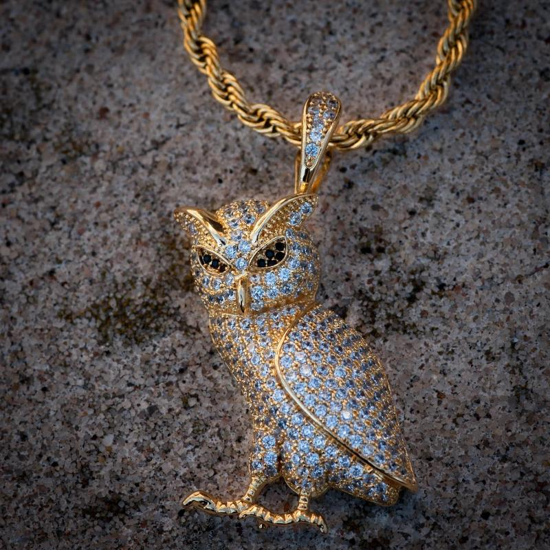 Iced OVO Owl Pendant Gold Necklace Chain