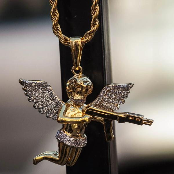 Angel of Death with Gun Pendant Yellow Gold Necklace Chain - The Jewelry Plug