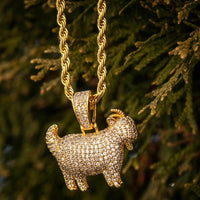 GOAT Pendant Yellow Gold Necklace Chain - The Jewelry Plug