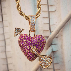 Purple Cupids Heart Pendant Gold Necklace Chain - The Jewelry Plug