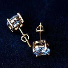 Round Cut Diamond Earrings in Yellow Gold - The Jewelry Plug