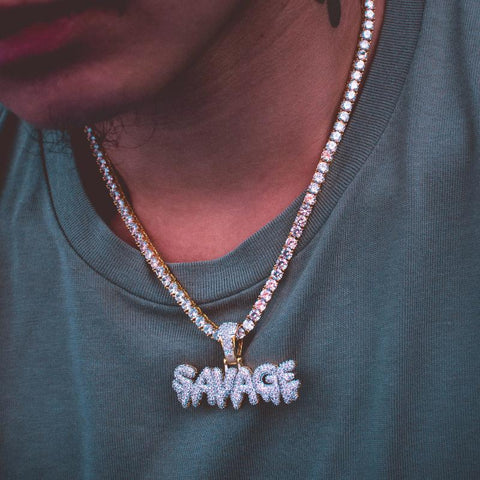 21 Savage Necklace w/ Tennis Chain - The Jewelry Plug