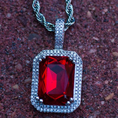Ruby Gemstone Necklace in White Gold - The Jewelry Plug