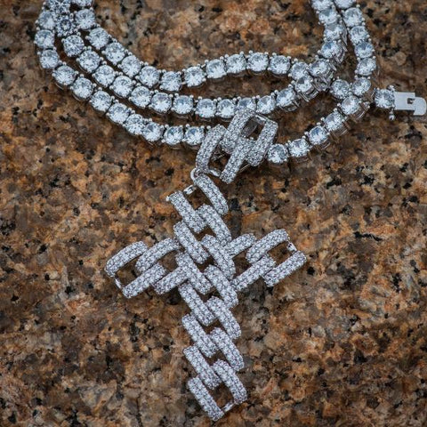 Diamond Cuban Link Cross Pendant Necklace in White Gold - The Jewelry Plug