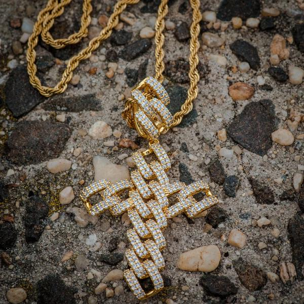 Diamond Cuban Link Cross Pendant Necklace in Yellow Gold - The Jewelry Plug