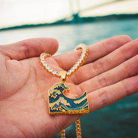 The Great Wave Emoji Necklace in Yellow Gold - The Jewelry Plug