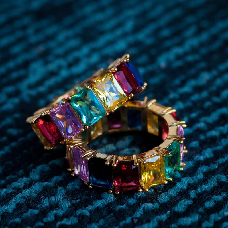 Rainbow Baguette Ring in Yellow Gold - The Jewelry Plug