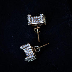 Square Studded Diamond Earrings in Yellow Gold - The Jewelry Plug