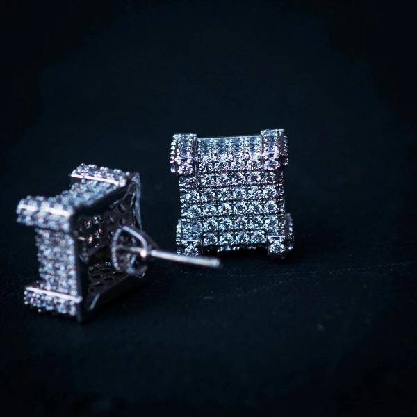 Square Studded Diamond Earrings in White Gold - The Jewelry Plug