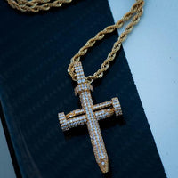 Diamond Nail Cross of Suffering in Yellow Gold - The Jewelry Plug