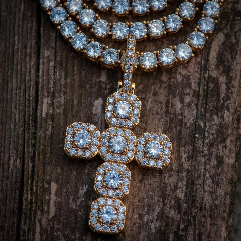 Diamond Gemstone Cross Necklace in Yellow Gold - The Jewelry Plug