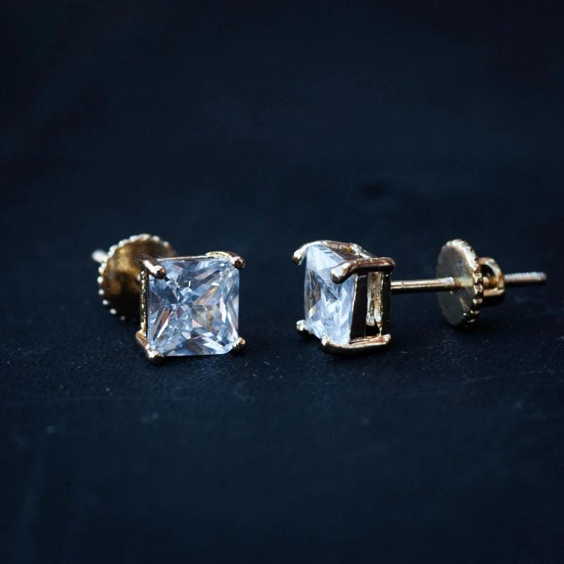 Princess Cut Square Diamond Stud Earrings in Yellow Gold - The Jewelry Plug