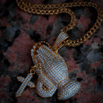 Diamond Iced Out Praying Hands in Yellow Gold - The Jewelry Plug