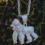Diamond Gorilla Ape Pendant White Gold Necklace Chain - The Jewelry Plug