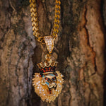 18k Yellow Gold Lion King Pendant Necklace Chain - The Jewelry Plug