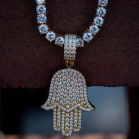 Diamond Hamsa Hand Iced Out w/ Tennis Chain in Yellow Gold - The Jewelry Plug