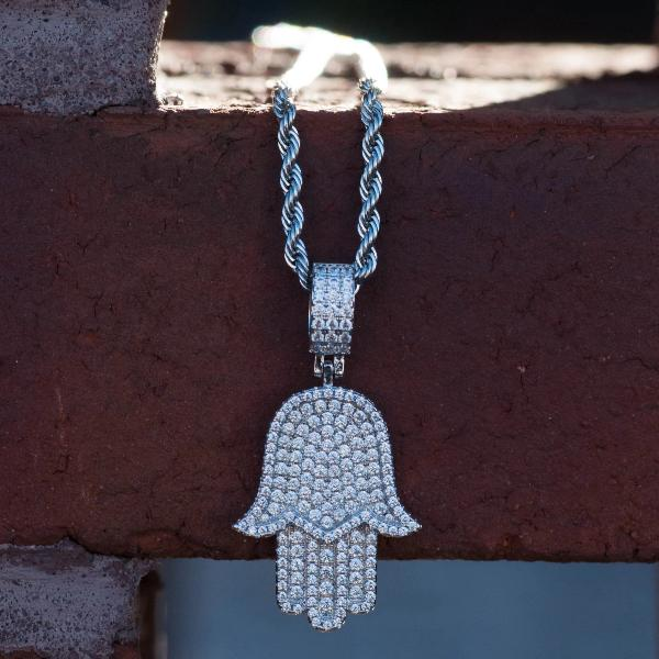 Diamond Iced Out Hamsa Evil Eye Pendant Necklace in White Gold - The Jewelry Plug