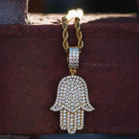 Diamond Hamsa Hand Iced Out w/ Rope Chain in Yellow Gold - The Jewelry Plug