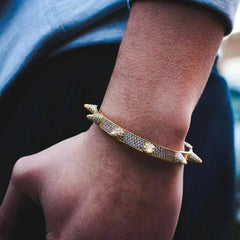 Diamond Spiked Bracelet in Yellow Gold - The Jewelry Plug