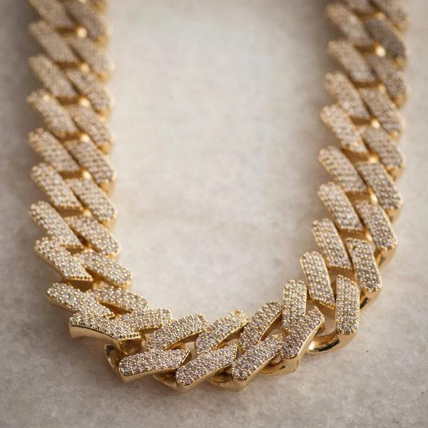 Diamond Straight Edge Cuban Link Chain 18mm in Yellow Gold - The Jewelry Plug