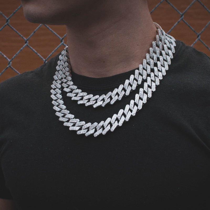 Diamond Straight Edge Cuban Link Chain 18mm in White Gold - The Jewelry Plug