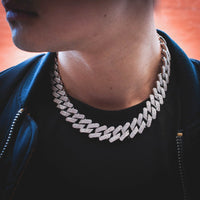 Diamond Straight Edge Cuban Link Chain (18mm) in White Gold