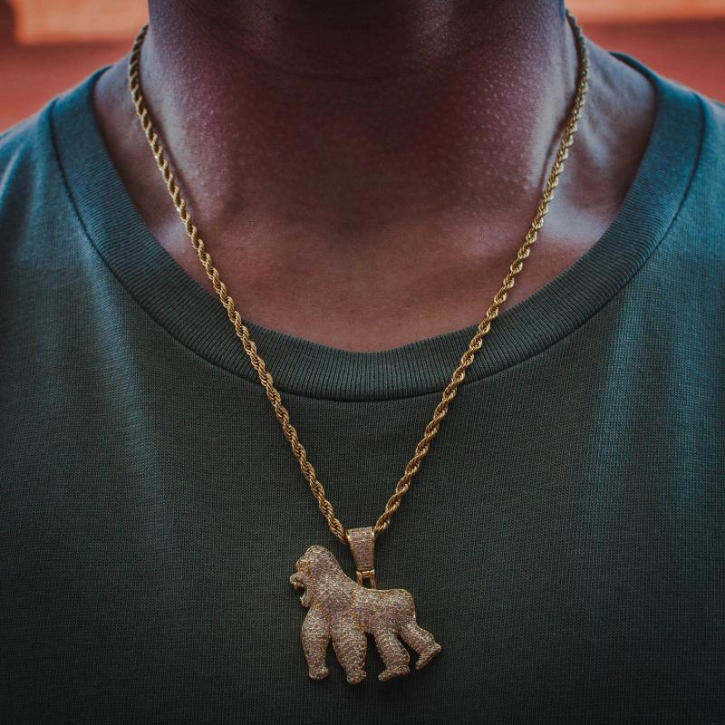 Diamond Gorilla Ape Pendant Yellow Gold Necklace Chain - The Jewelry Plug