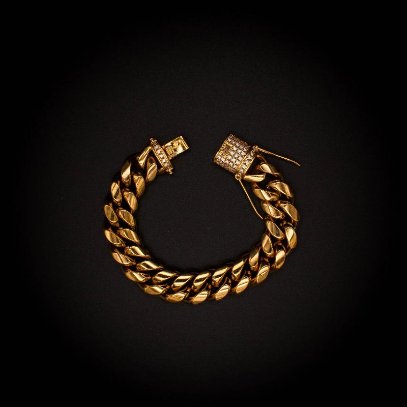 Miami Cuban Link Bracelet in Yellow Gold - The Jewelry Plug