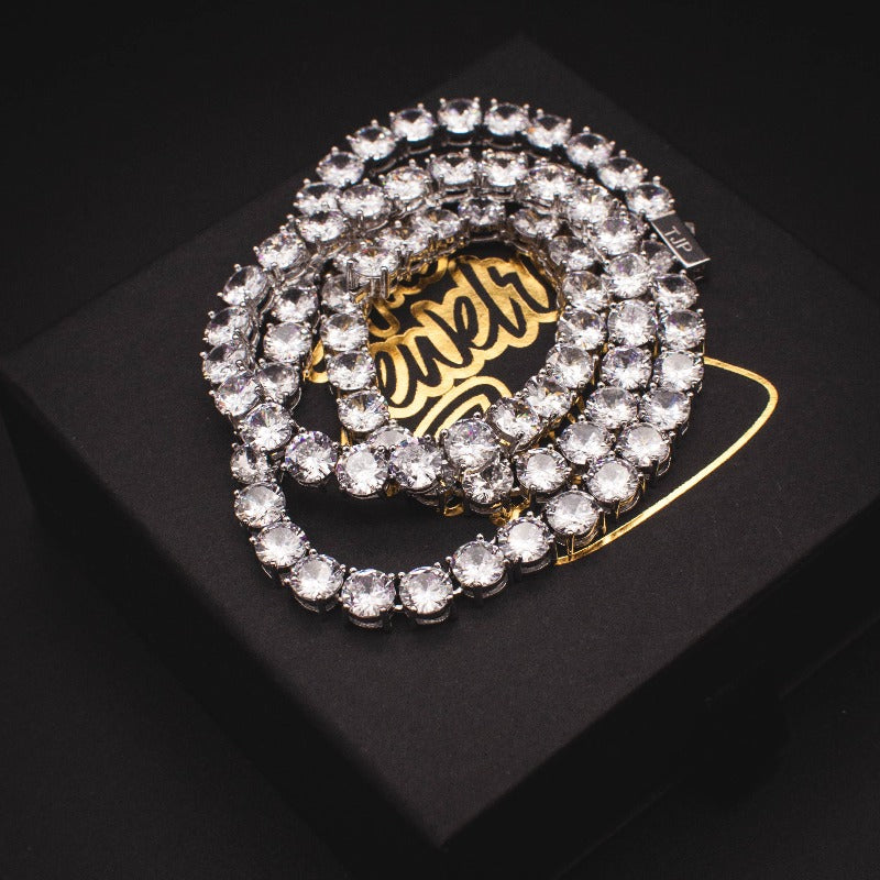 White Gold Diamond Tennis Chain - The Jewelry Plug