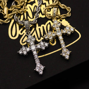 Gold Vintage Diamond Cross Necklace - The Jewelry Plug